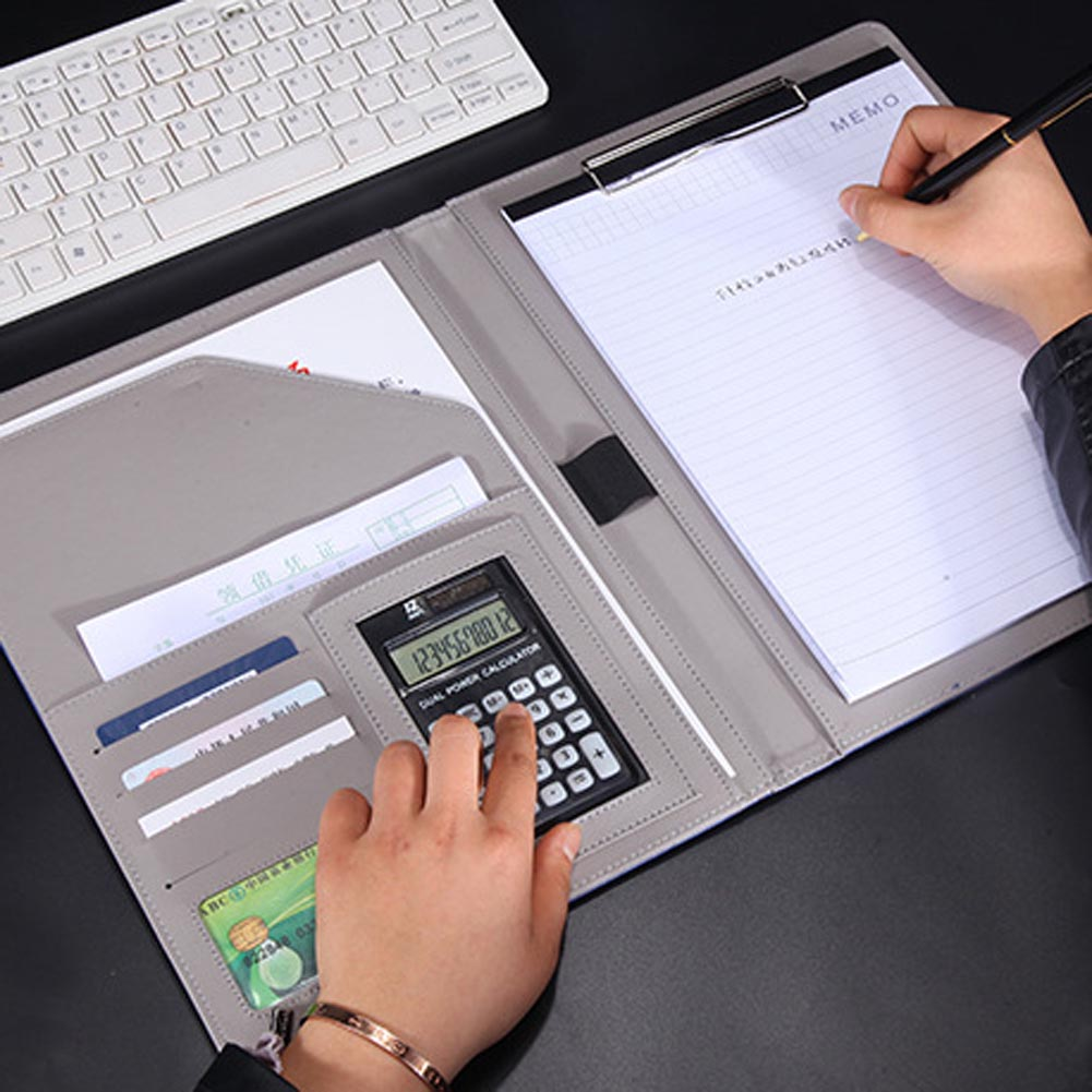 A4 Leather File Folder With Calculator Multifunction Office Supplies Organizer Manager Document Pads Briefcase Padfolio Bags