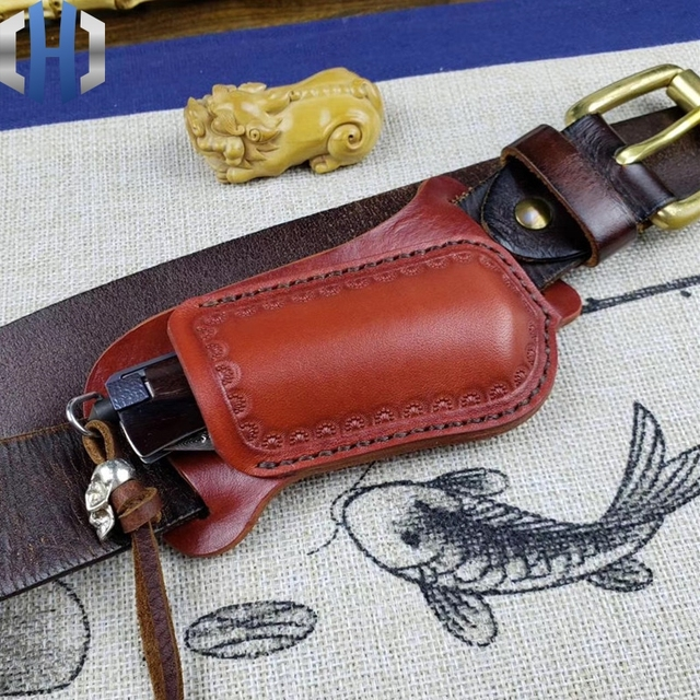 Crossing Fast Folding Knife Set Hunter Straight Knife Leather Scabbard Cutter Protective Cover Knife Bag Handmade Cowhide