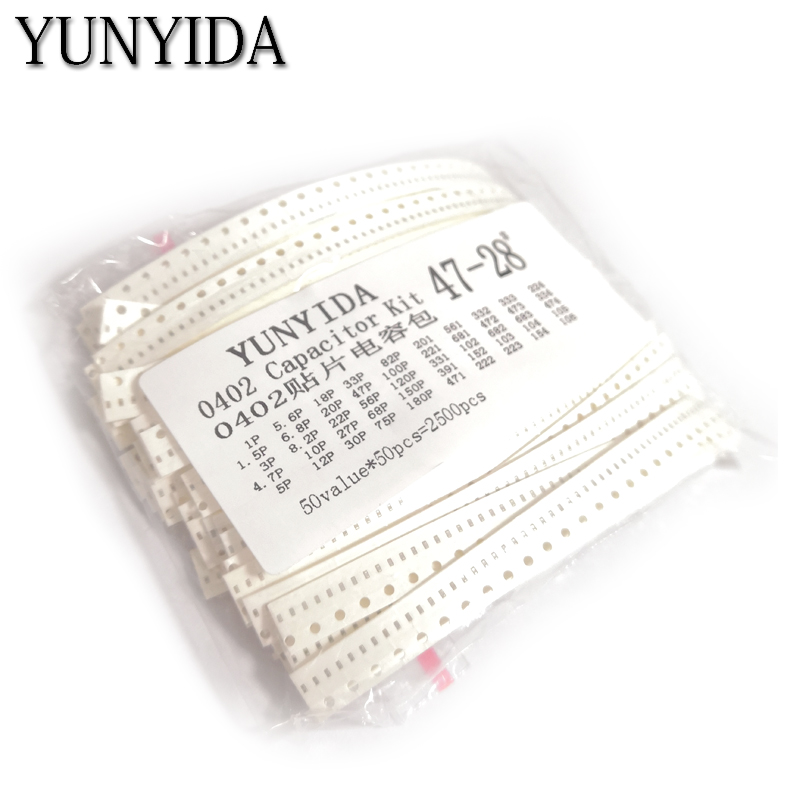 0402 SMD  Ceramic Capacitor Assorted Kit 1pF~10uF 50values*50pcs=2500pcs Chip Ceramic Capacitor Samples Ki