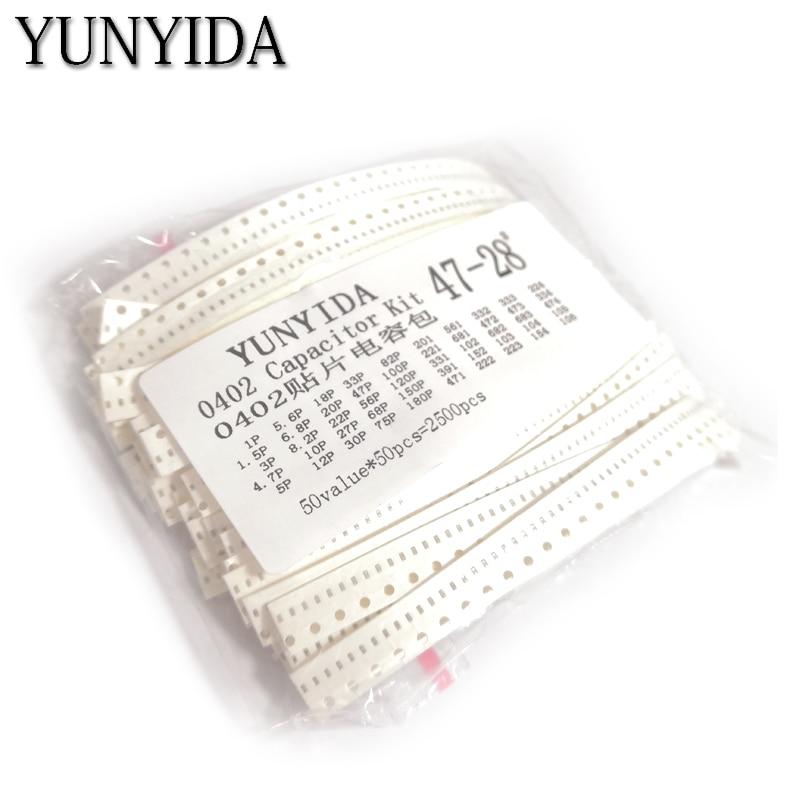 0402 SMD Керамический конденсатор в ассортименте, 1 пФ ~ 10 мкФ, 50 значений * 50 шт. = 2500 шт., образцы керамических конденсаторов