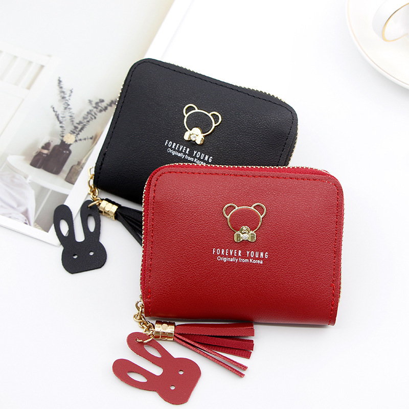 Female Wallet New Cute Bear Zipper Mini Purses Short Tassel Chains Women Wallets Card Holders Animal Pattern Students Coin Bag