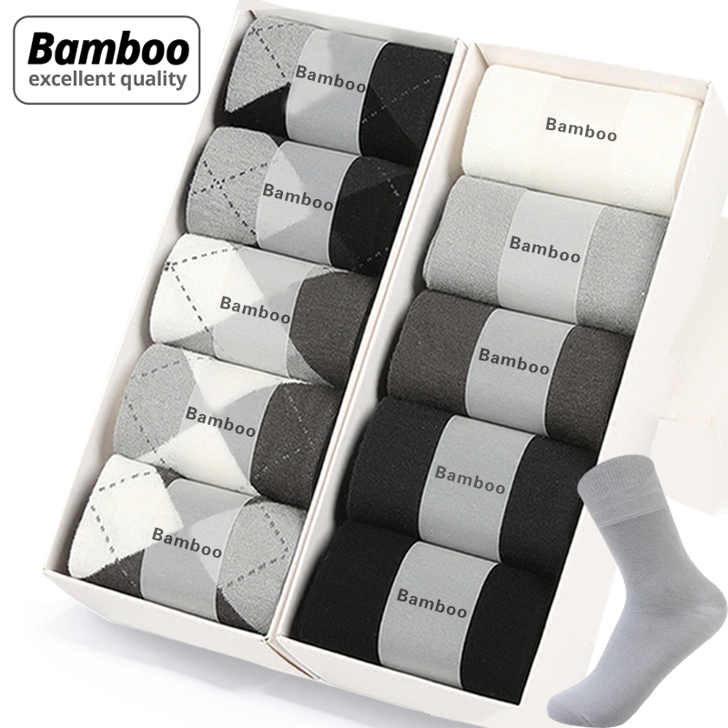MWZHH 10 Pairs Brand New Bamboo Fiber Socks Men Business Leisure Dress Socks Men's Summer Deodorization Long Bamboo Socks Black