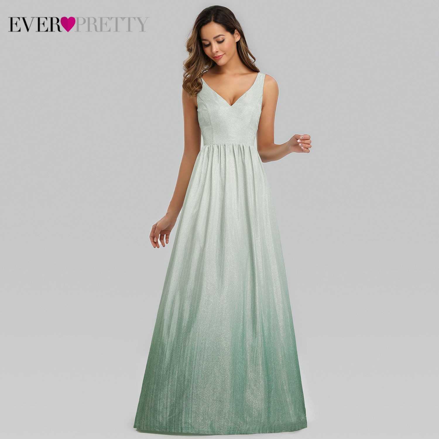 Ever Pretty Simple Evening Dresses A-Line Double V-Neck Sleeveless Sparkle Long Formal Gowns Abiye Gece Elbisesi 2019