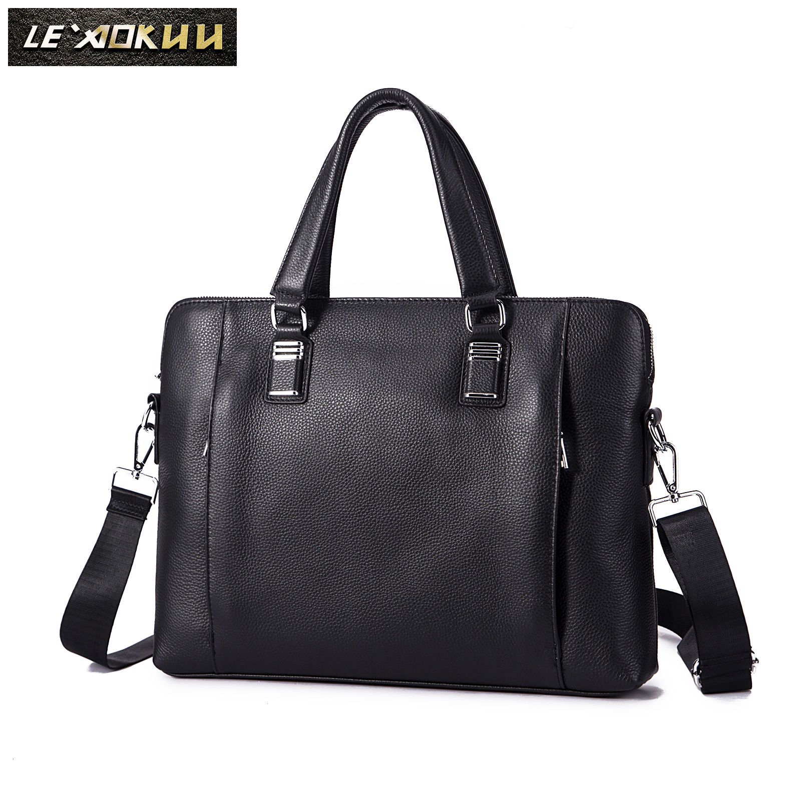 Men Quality Leather Luxury Office Maletas Business Briefcase 15