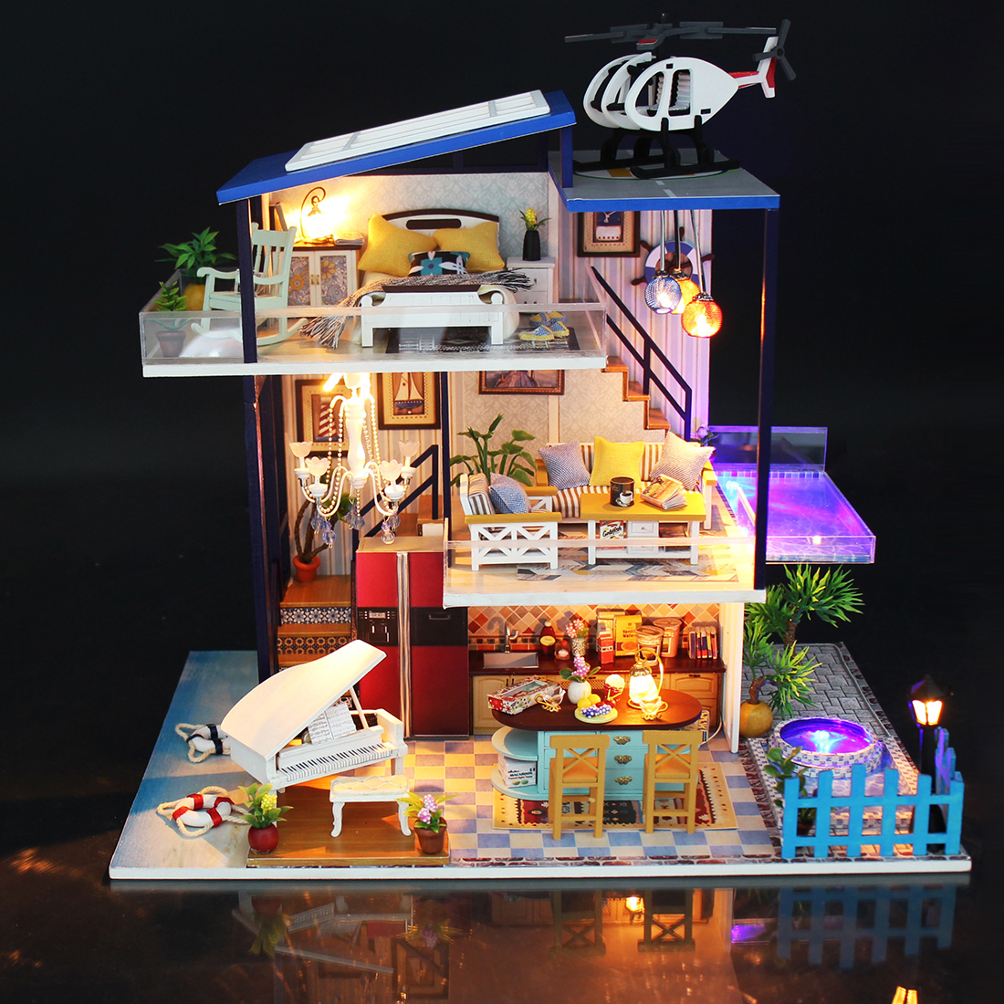 DIY Doll Houses Handmade Theme Wooden Cabin Assembly Building Model Toy Set With Light And Music - Blue Sea Romance