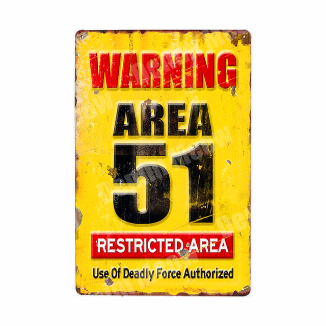 WARNING ZOMBIES Plaque 51 Area Vintage Metal Tin Signs Home Bar Pub Decorative Plates Warning Sign Wall Stickers Art Poster N207