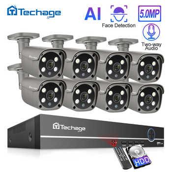 Techage 8ch 5mp hd poe nvr kit cctv sistema de segurança em dois sentidos áudio ai ip câmera ao ar livre p2p câmera de vigilância de vídeo conjunto 3tb hdd