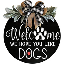 Welcome Sign Front Door Hanger Wreath with Bow Welcome Me We Hope You Like Dogs Farmhouse Vertical Round Plague Hanging Decor
