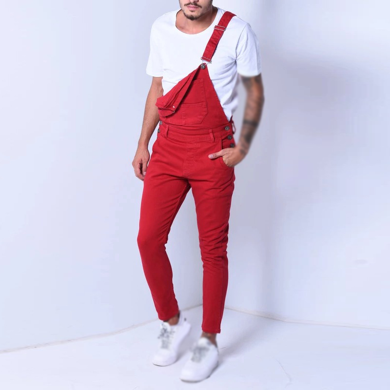 Fashion Men Jumpsuits Denim Trousers Popular Overalls Adjustable Pockets Summer Autumn Men Romperi