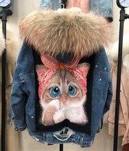 Indietro cartoon cat print fodera in pelliccia spessa parka in vera pelliccia donna collo in pelliccia di procione naturale giacca di jeans cappotto con cappuccio in pelliccia oversize