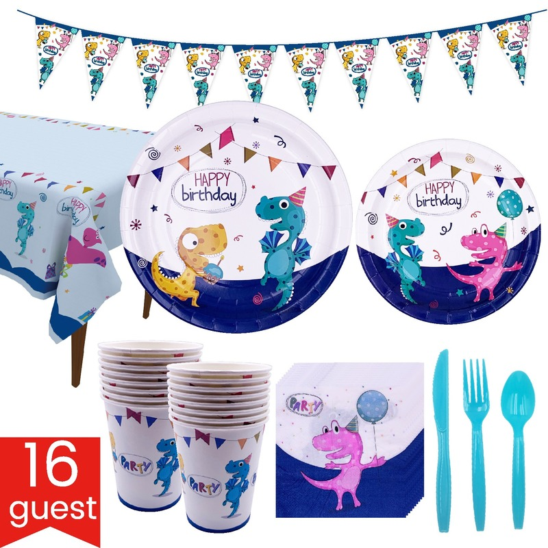Cute Cartoon Dinosaur Birthday Party Set Disposable Tableware Paper Cup Tray Kids Party Decoration With Flag