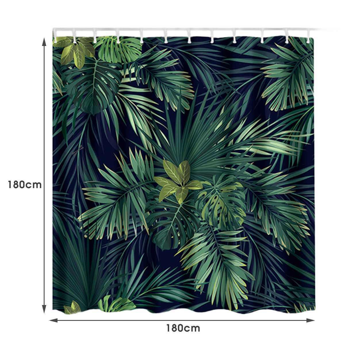 الأخضر أوراق نباتية استوائية المطبوعة ستارة للحمام دش المضادة للانزلاق حمام أطقم حصير (دواسات) المرحاض غطاء المطبخ السجاد
