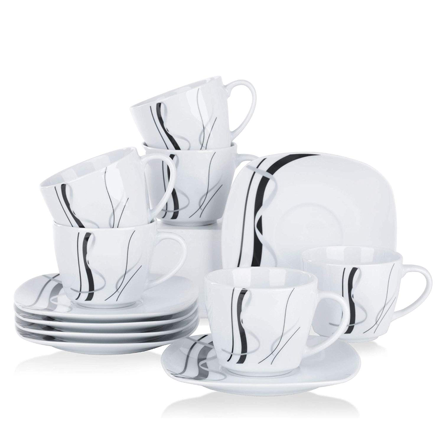 VEWEET FIONA 12-Piece 220ml White Porcelain Drinkware Espresso <font><b>Coffee</b></font> <font><b>Cups</b></font> and Saucers <font><b>Set</b></font> Kitchen Family Office <font><b>Coffee</b></font> <font><b>Cup</b></font> <font><b>Set</b></font> image