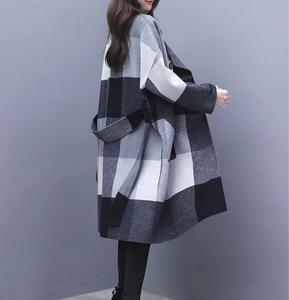 Image 2 - Contrast plaid woolen coat female 2020 autumn winter warm windproof long overcoat plus size trench coat suit collar casaco top
