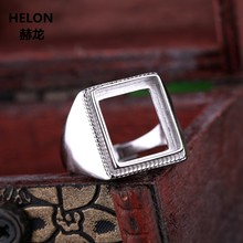 925 Sterling Silver Men Ring 12x14mm Princess Cabochon Semi Mount Ring fit Amber Garnet Turquoise Setting Wholesale(China)