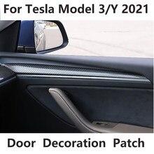 Arrière en fibre de carbone mat pour Tesla modèle 3 2021, Patch de décoration de porte, couverture de protection, accessoires, modèle Y 2021