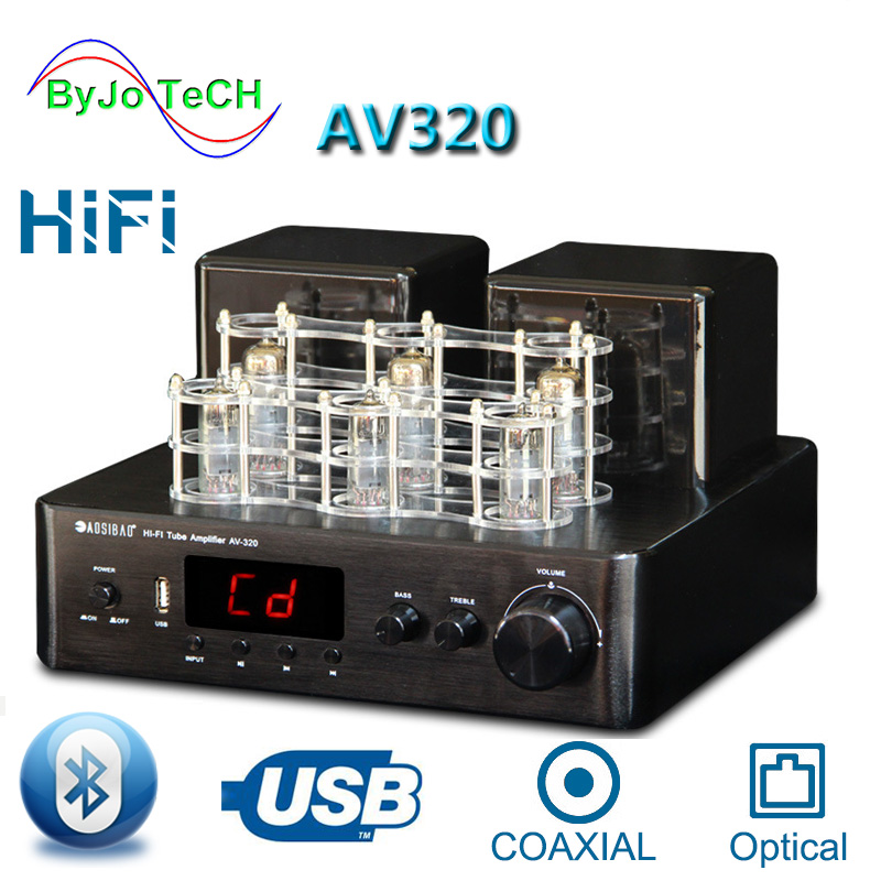 AOSIBAO AV320 HIFI Vacuum <font><b>Tube</b></font> Integrated Amplifier <font><b>Bluetooth</b></font> Coaxial optical input Stereo Lossless decoding USB <font><b>Preamplifier</b></font> image
