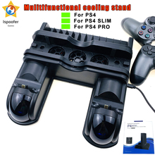 2020 New PS4/PS4 Slim/PS4 Pro Dual Controller Charger Console Vertical Cooling Stand Charging Station LED Fan For Playstation 4