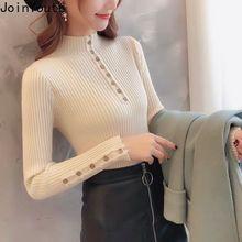 JoinYouth botón sólido Delgado mujer suéteres medio cuello alto moda jerseys mujer otoño 2019 ropa de invierno J274
