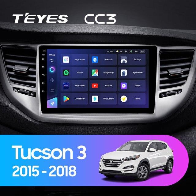 TEYES CC3 Штатная магнитола For Хендай Туксон 3 For Hyundai Tucson 3 2015 - 2018 до 8-ЯДЕР, до 6 + 128ГБ 27EQ + DSP carplay автомагнитола 2 DIN DVD GPS android 10 мультимедиа автомобиля головное устройство 2