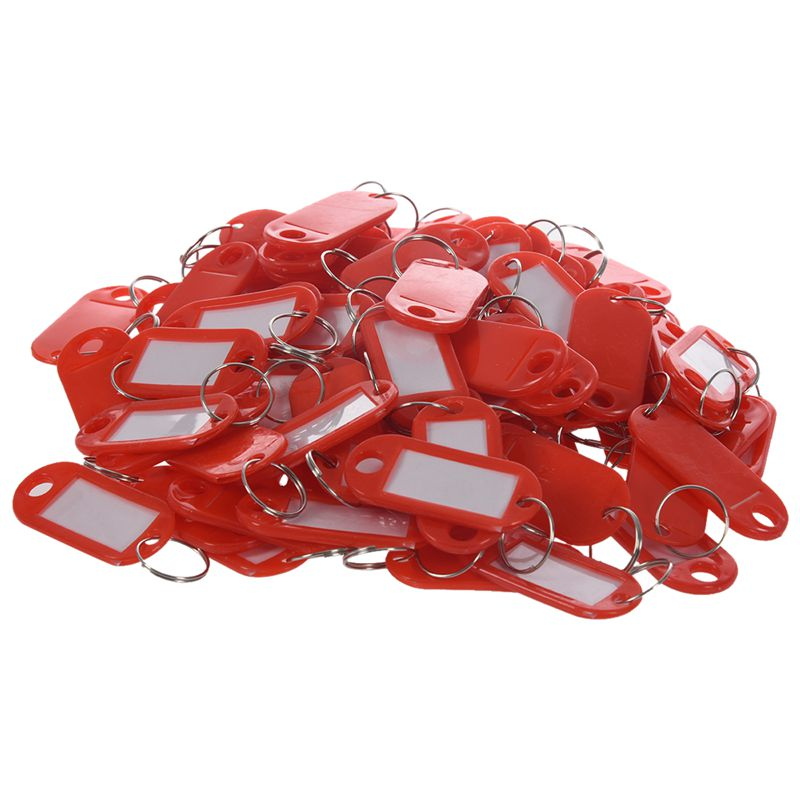 Key Ring Tags -(100pcs Red)