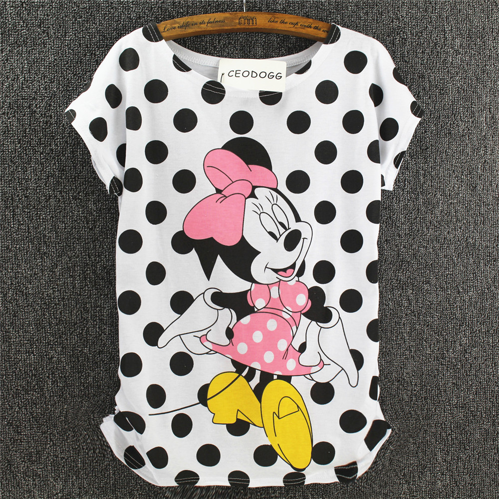CEODOGG T Shirt Women 2019 Fashion Summer Women T Shirt Tops Print Cartoon Tee Shirt Femme Harajuku Girt Shirts Mouse Duck