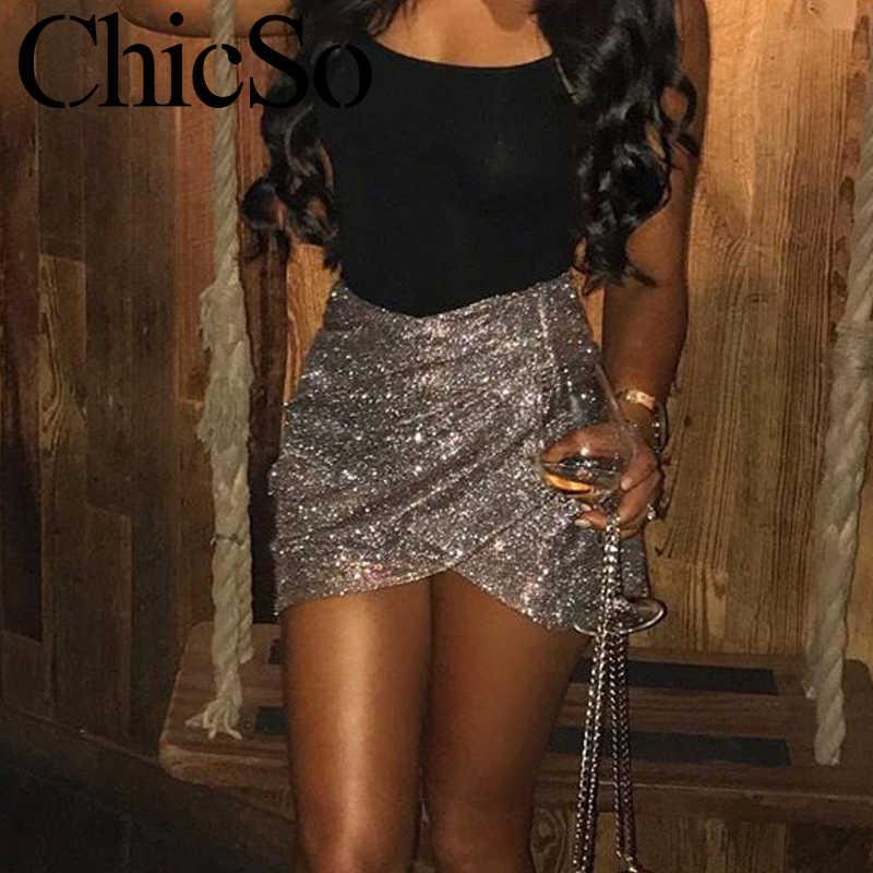 MissyChilli Knitted lurex short skirt women High waist slim mini skirt summer Elegant bodycon party club sexy irregular bottoms