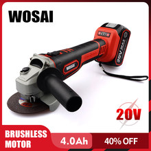 Wosai Brushless Angle Grinder 20V Lithium-Ion Mesin Cordless Listrik Grinder Polishing Cutting Alat Alat Kerja(China)