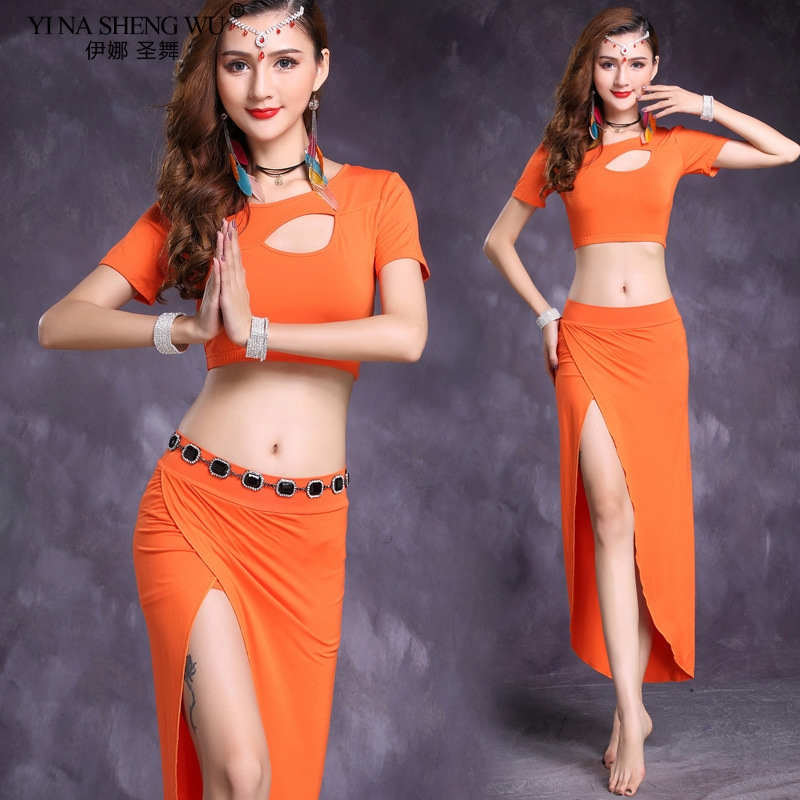 Belly Dance Costume New Modal Women Practice Suit Top+Long Split Skirt Sexy Short Sleeve Belly Dancing Dress Performance Clothes