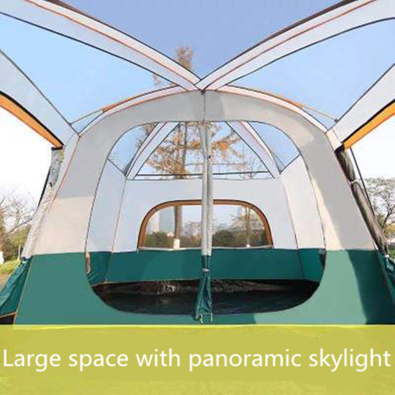 Two bedroom Tent Leisure Camping Double decker Oversized 5 8 People Thickened Rainproof Tent