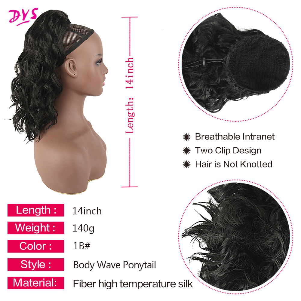 Clearance SaleDeyngs Hairpiece Ponytail Drawstring Clip-In Fake-Hair Black Synthetic African Americanî