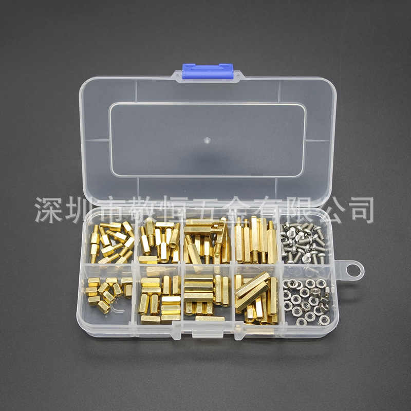 120pcs M3 SINGLE PASS Double PASS หกเหลี่ยมทองแดงโพสต์สกรูสกรูชุดกล่อง