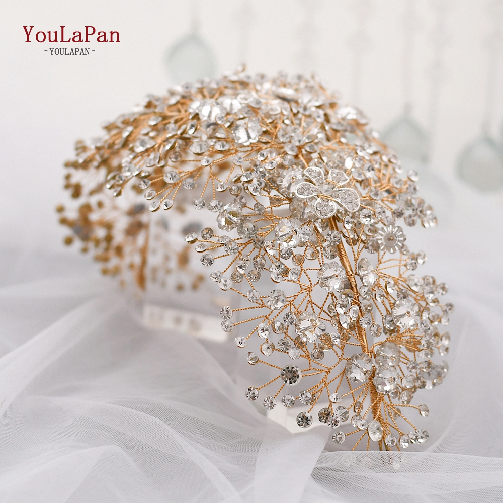 Купить с кэшбэком YouLaPan HP240 Bride Tiara Handmade Crystal Wedding Hair Jewelry Fascinators for Wedding Rhinestone Wedding Crown Headpieces
