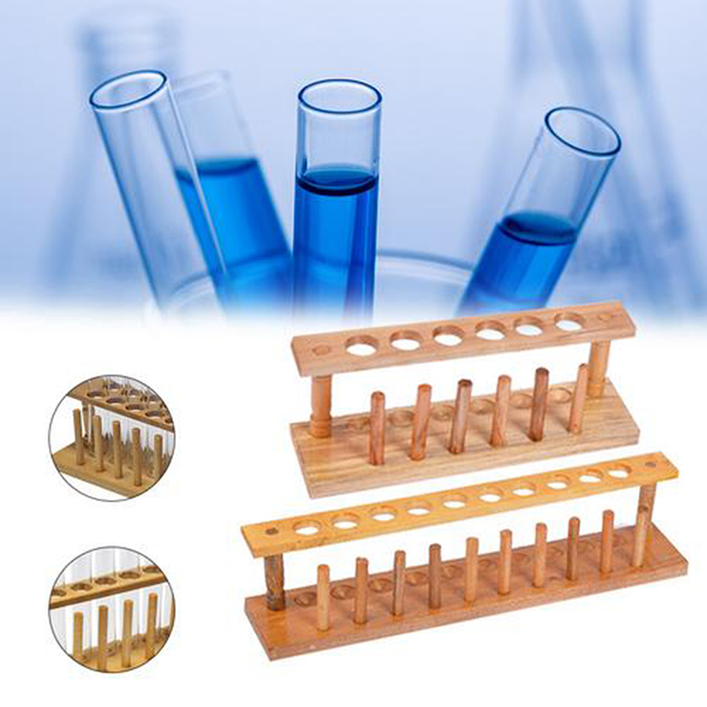 6 Holes Laboratory Test Tube Rack Laborator Testing Tubes Clip Holder Stand Shelf Dropper Wood With 6 Stand Sticks Lab Supplies