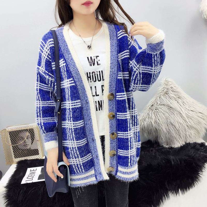Women Winter Cardigan Sweater Knitted Korean version knitted jacket 2019 hippocampus Wool Plaid long section autumn Wear Loose 2