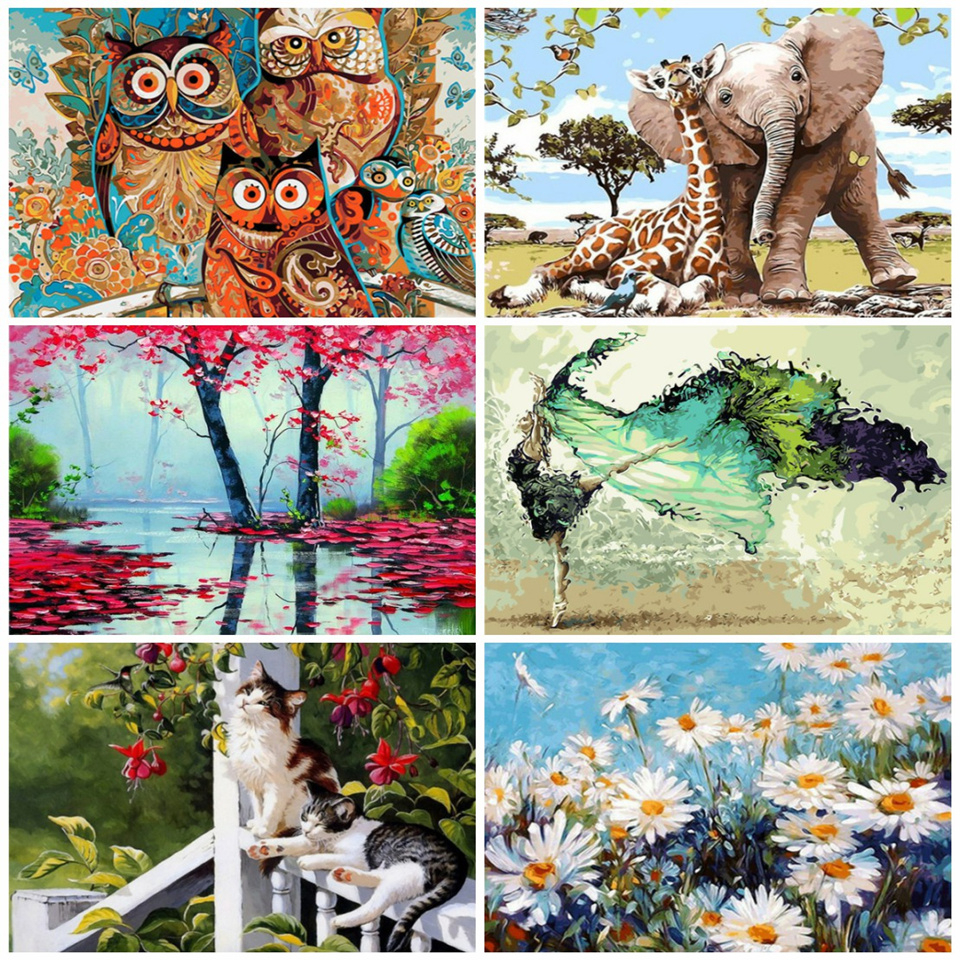 AZQSD Paint by Numbers Canvas Scenery Oil Painting Poster Colorful Posters and Prints Unfinished Craft Home Decoration DIY Hobby(China)