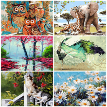 AZQSD الطلاء بواسطة أرقام قماش مشهد النفط اللوحة المشارك الملونة الملصقات والمطبوعات لم تنته الحرفية ديكور المنزل لتقوم بها بنفسك هواية