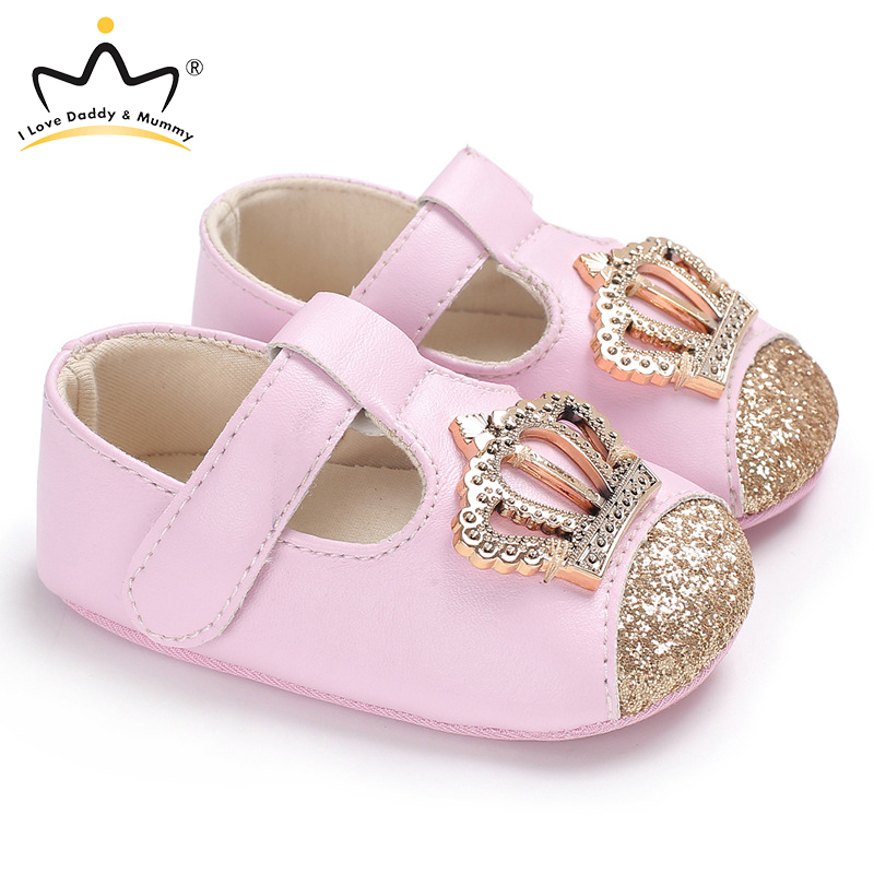 New Baby Shoes Pink Crown Princess Baby Girl Shoes Cotton PU Leather Mary Jane Newborn First Walkers Toddler Shoes For Girls