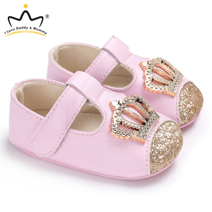 New Baby Shoes Pink Crown Princess Baby Girl Shoes Cotton PU Leather Mary Jane Newborn First Walkers Toddler Shoes For Girls(China)