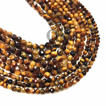 Natural Small Faceted Yellow Tigereye Tigers Eye Tiger Eyes Beads Round DIY Jewelry Making Necklace Bracelet