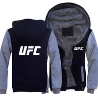 Sports Fighting UFC Printing Plus Velvet Thick Zipper Hoodie Men's Sweatshirt Hoody Streetwear Tracksuit Fashion Coat