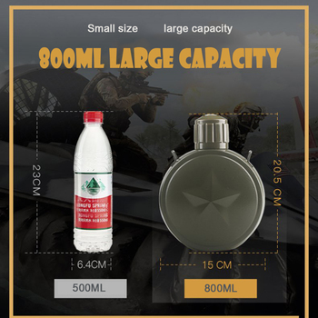 800ML Stainless steel bottle Vacuum flask Portable outdoor kettle Insulation pot military fan kettle with strap Thermal flask 4