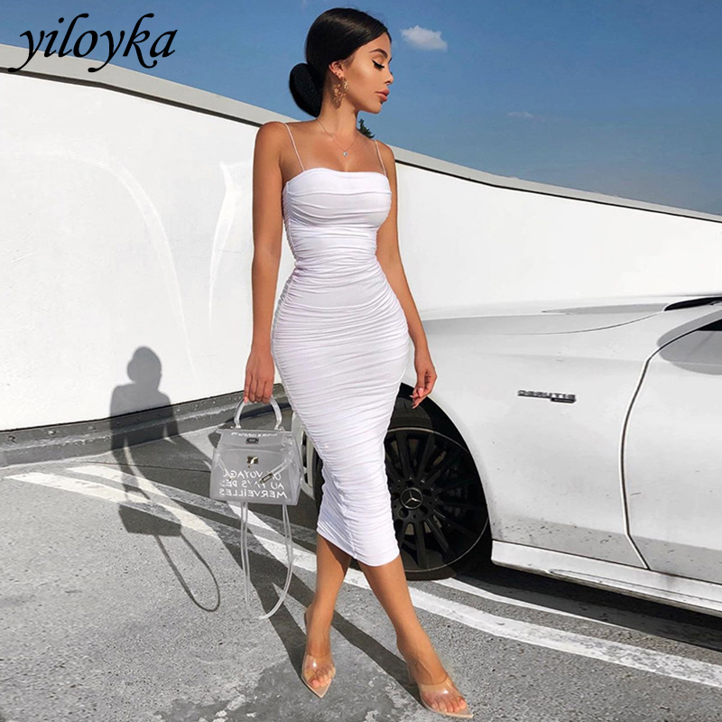 2 Layers White Summer Dress Women 2020 Elegant Elastic Ruched Maxi Dress Pink Party Long Dress Sexy Dresses Woman Party Night