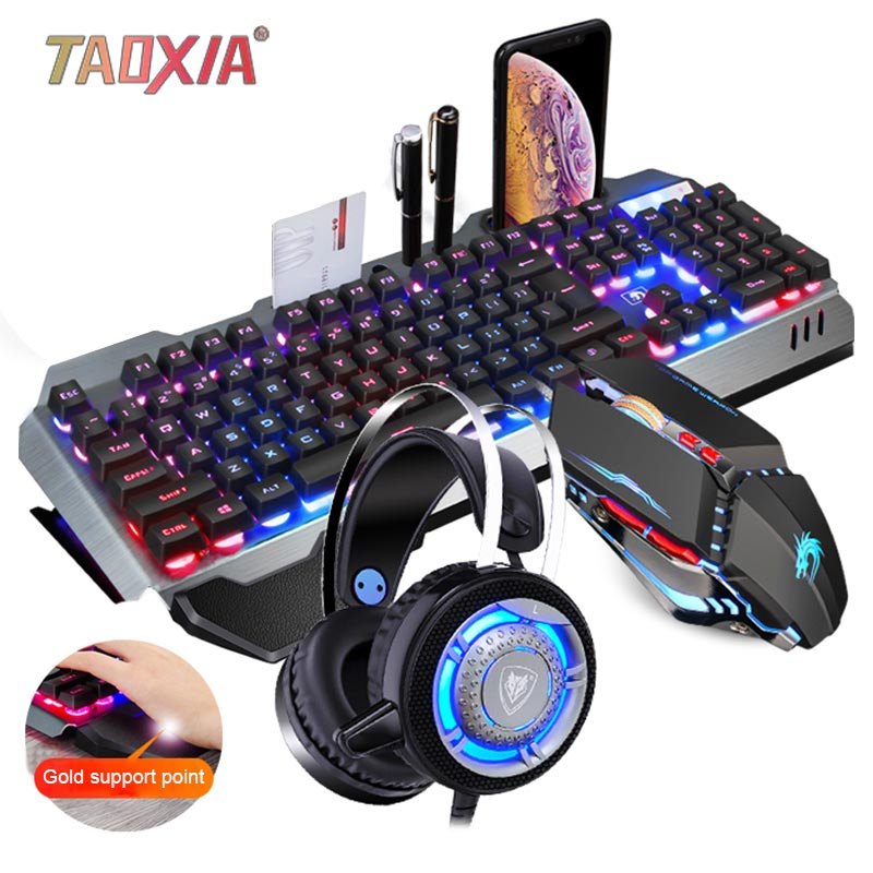 Real Mechanical Hand Feeling Keyboard With Mouse Headset Set Desktop Computer Notebook Game Wired USB Esports Wrangler Keyboards