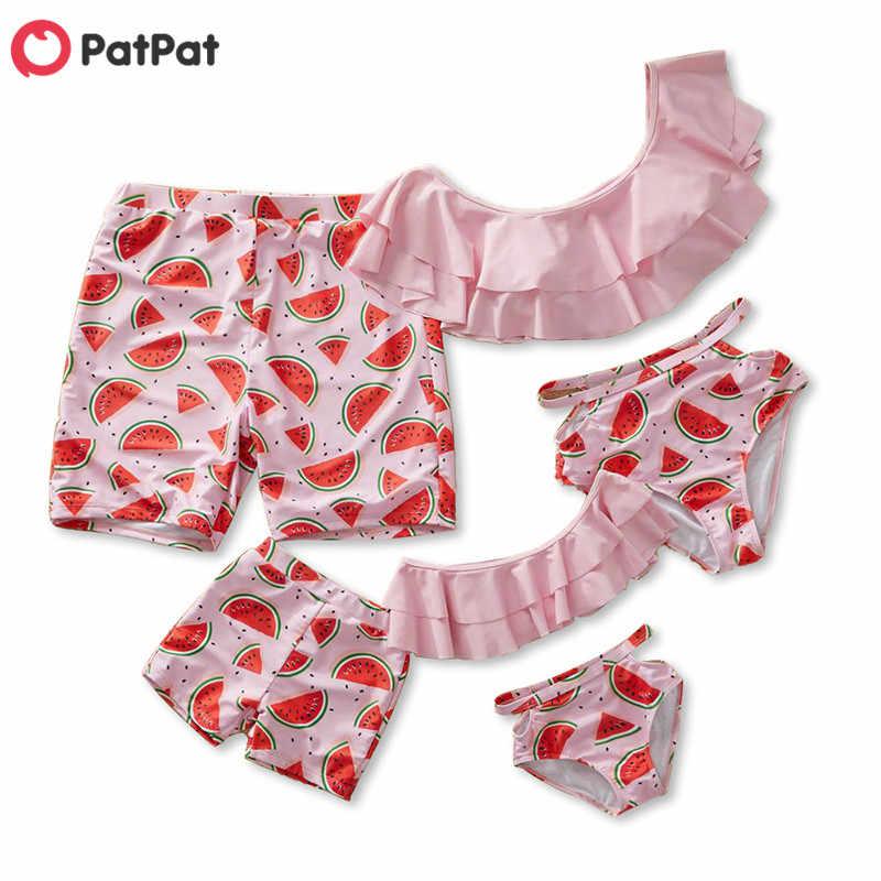 PatPat распродажа, летний купальный костюм в наличии с арбузом для всей семьи, детская одежда, одинаковые наряды для всей семьи