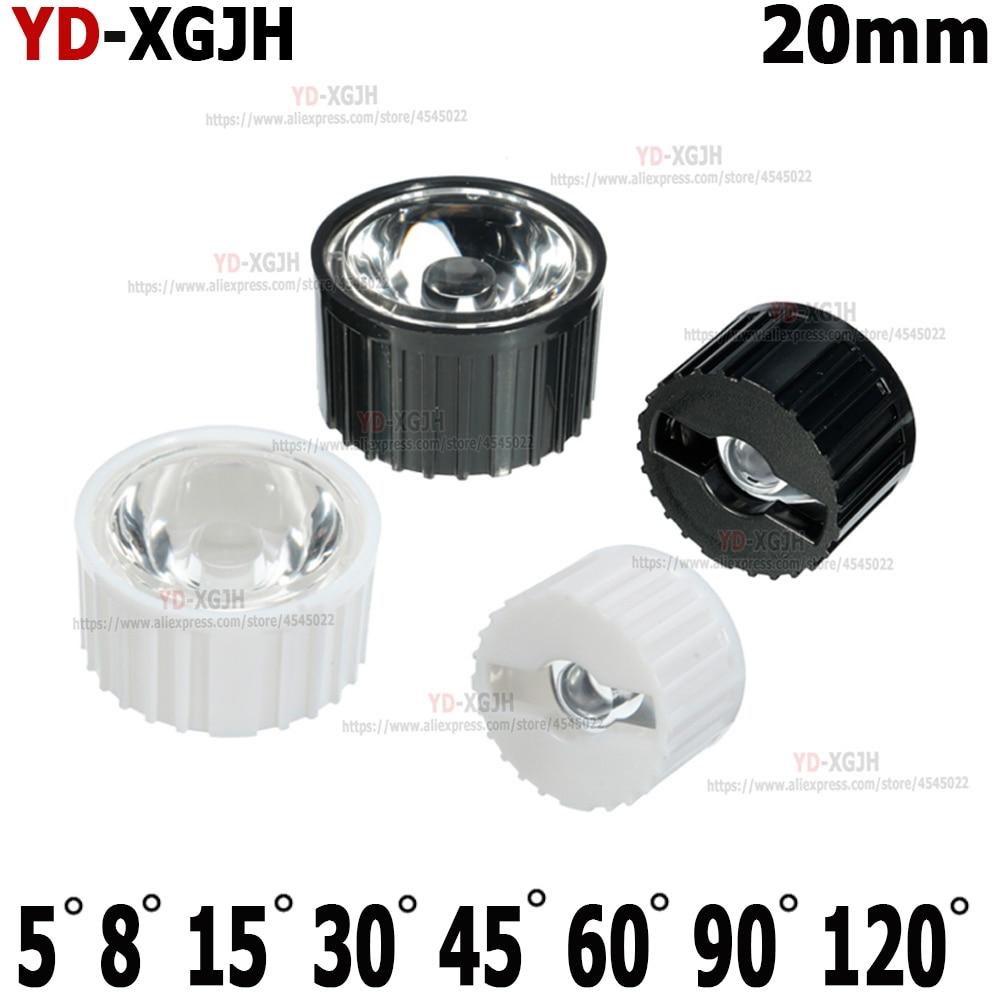 LED Lens 5 8 15 25 30 45 60 90 120 Degrees 20mm PMMA Lens + Bracket For DIY 1W 3W 5W High Power LED COB