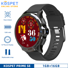 """KOSPET Prime SE 1GB 16GB Smart Watch Men Camera 1260mAh 1.6"""" Support Face ID 4G GPS Bluetooth Android Smartwatch with sim card"""