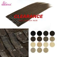 WIGS Human-Hair-Extensions Natural-Hair Seamless Clip-In Straight 100%Manchine Remy PU