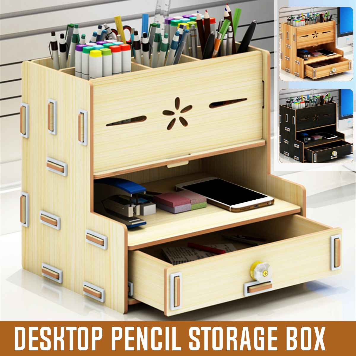 Multi - Functional Pen Holder Students Desktop Organizer Wood Accessories Stationery Barrels Storage Rack Box With Drawer 2020