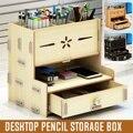 Multi-funcional caneta titular estudantes desktop organizador de madeira acessórios papelaria barris caixa de armazenamento rack com gaveta 2020